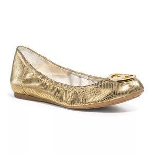 Michael Kors Fulton Gold MK Logo Ballet Flats.